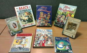 Selection of Alice in Wonderland books in the Rare Books Collection